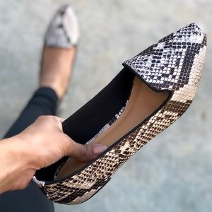 Shoes - Trendy Snake Print Loafer Pointed Flats
